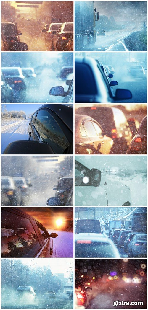 Cars on the road snow frosty winter day 12X JPEG
