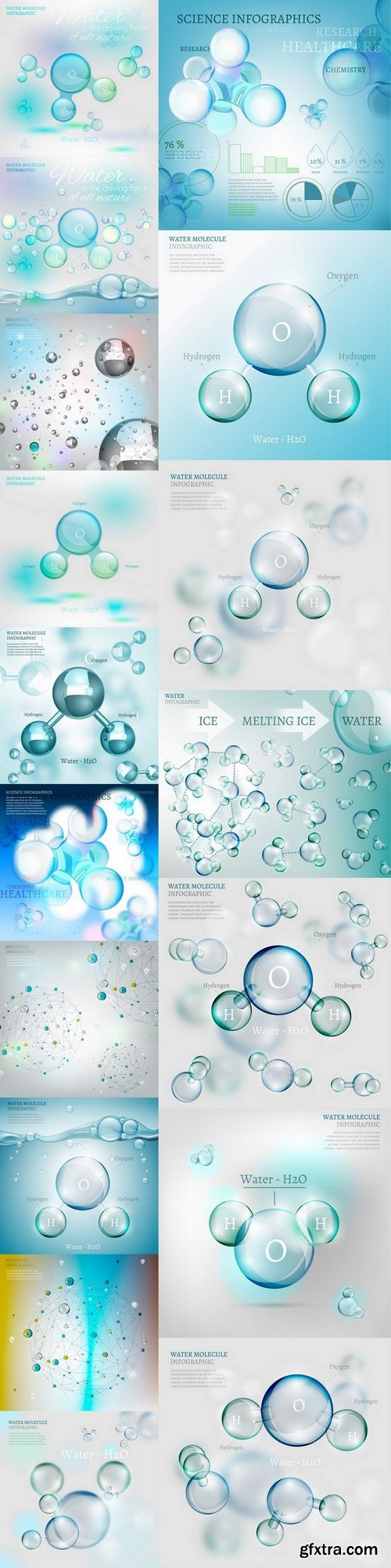 Water molecule - 17 EPS Vector Stock