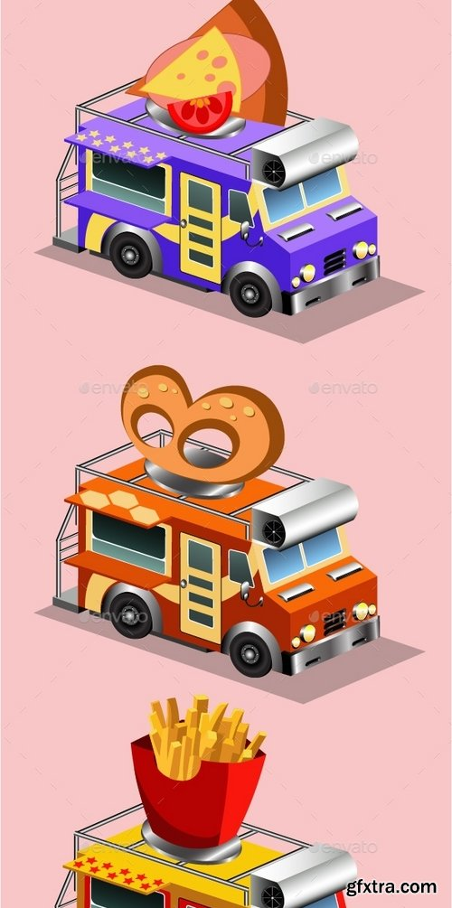 GraphicRiver - Van Food Vehicle Isometric 18718277