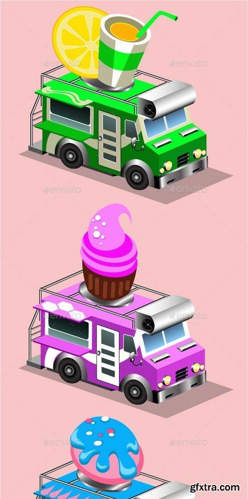 GraphicRiver - Van Food Vehicle Isometric 18718277