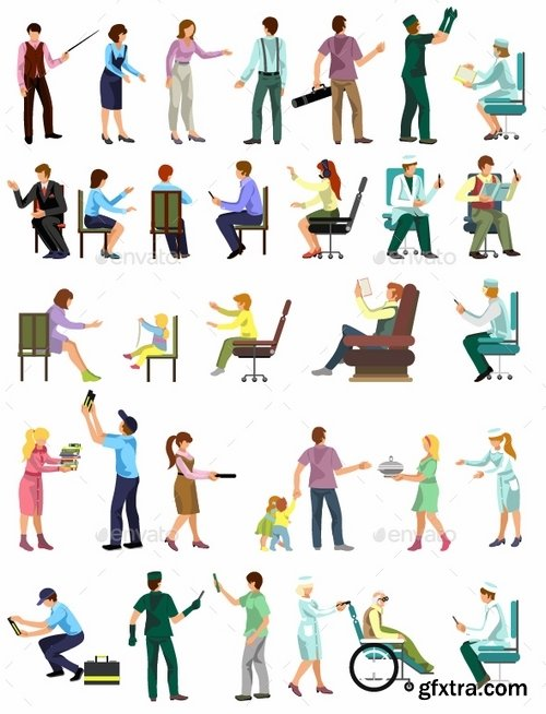 GraphicRiver - Flat People Vector Set 18718497