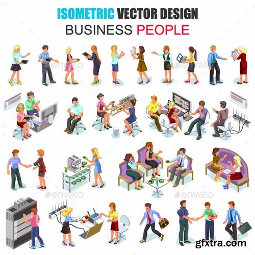 GraphicRiver - Business People Isometric Vector Set 18077607