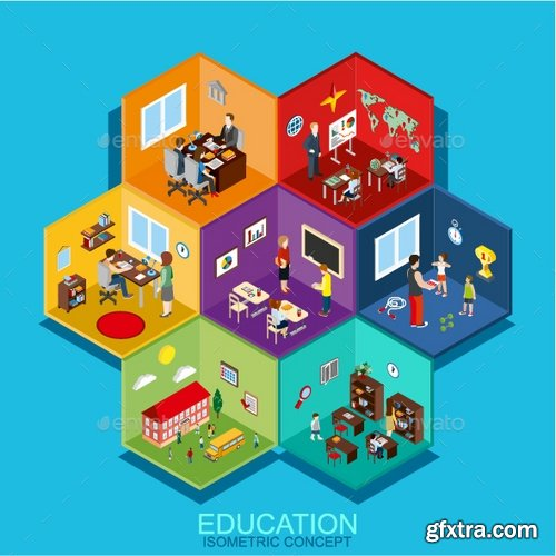 GraphicRiver - Education Room Cells Isometric 17973965