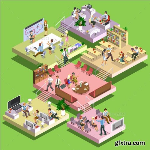 GraphicRiver - Isometric Office Center 17809628