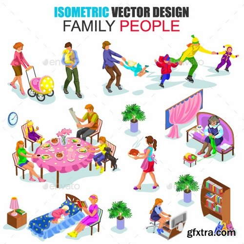 GraphicRiver - Isometric Family People Vector 18208435