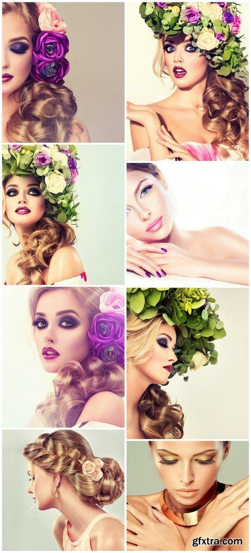 Beautiful hair with flowers 8X JPEG