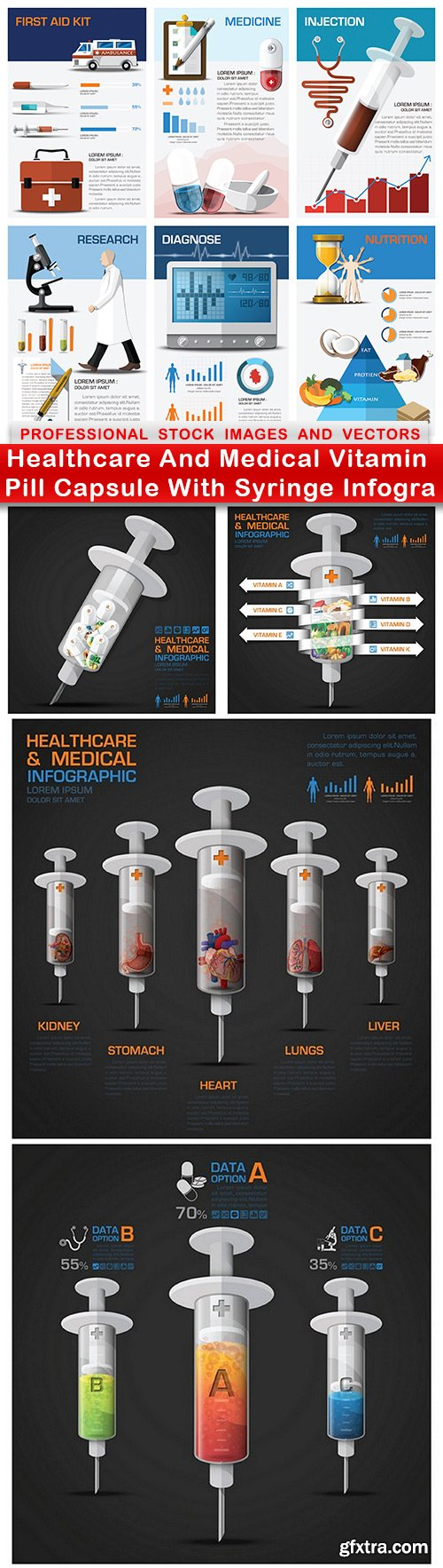 Healthcare And Medical Vitamin Pill Capsule With Syringe Infogra - 5 EPS