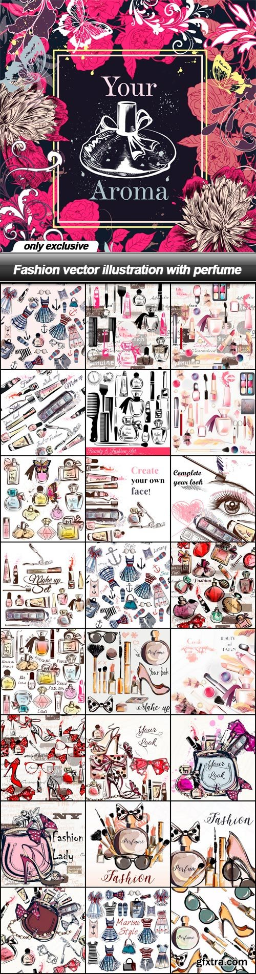 Fashion vector illustration with perfume - 25 EPS