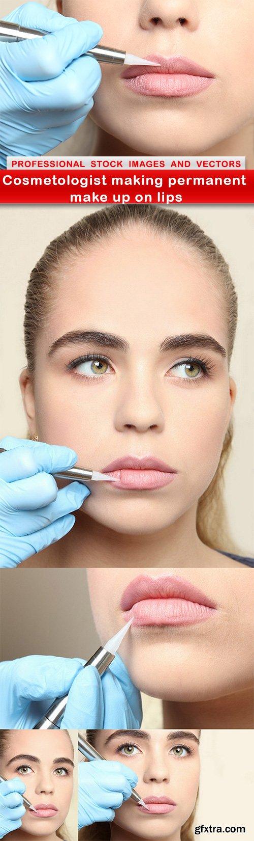 Cosmetologist making permanent make up on lips - 5 UHQ JPEG