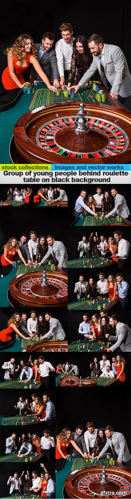Group of young people behind roulette table on black background, 15 x UHQ JPEG