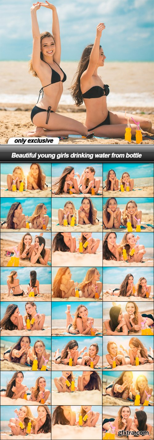 Beautiful young girls drinking water from bottle - 25 UHQ JPEG