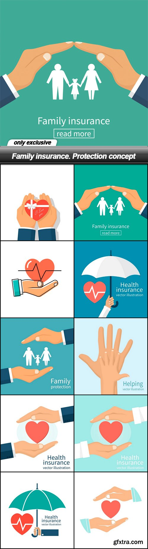 Family insurance. Protection concept - 10 EPS