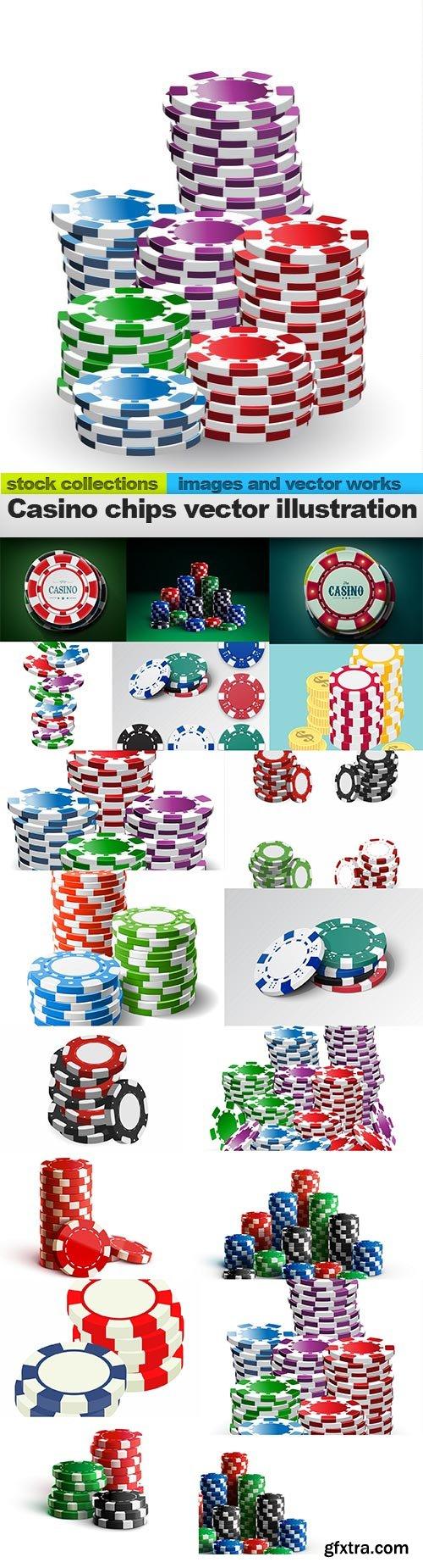 Casino chips vector illustration, 15 x EPS
