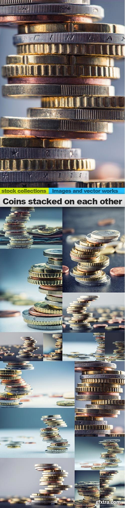 Coins stacked on each other, 15 x UHQ JPEG