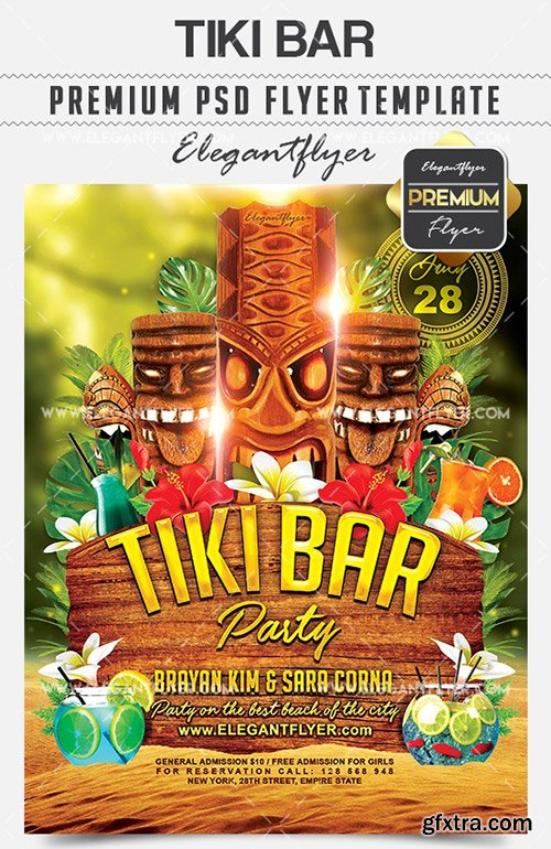 Tiki Bar – Flyer PSD Template + Facebook Cover