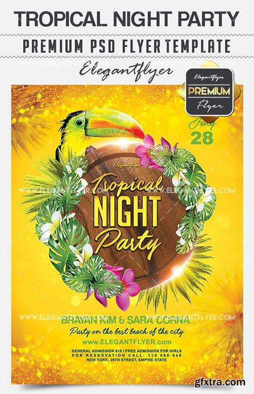 Tropical Night Party – Flyer PSD Template + Facebook Cover