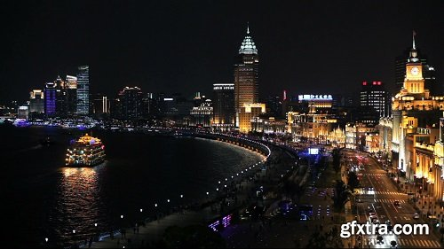 Shanghai night skyline view along huangpu river and the bund shanghai china