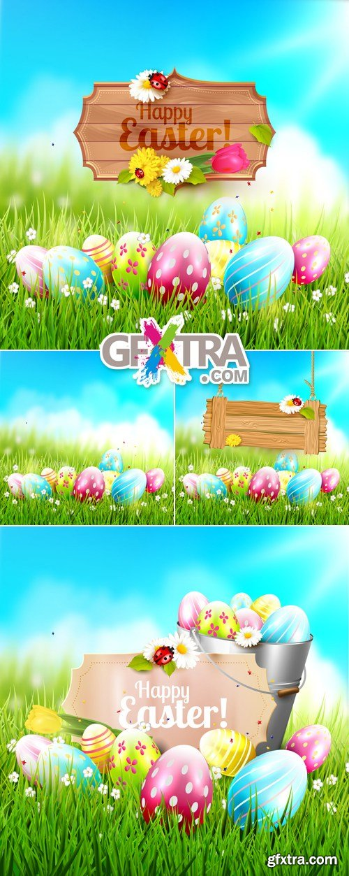 Easter Greeting Cards Vector