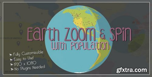 Videohive Earth Zoom and Spin with Population Template 9768386