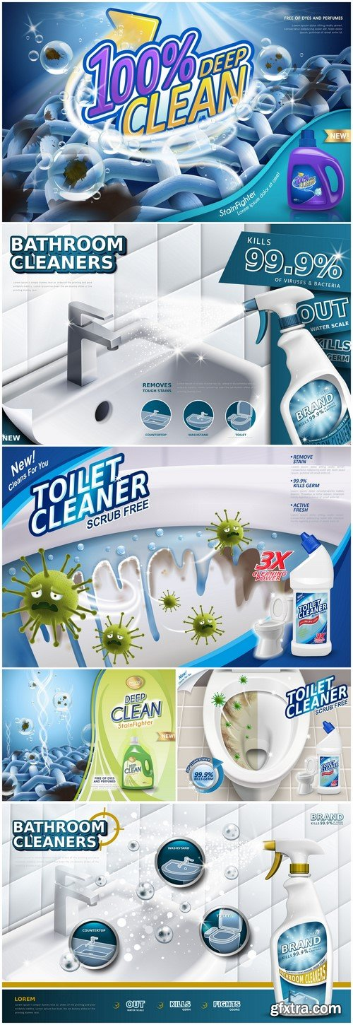 3d advertising Laundry detergent ads, Toilet cleaner ads, Bathroom cleaners ads 6X JPEG