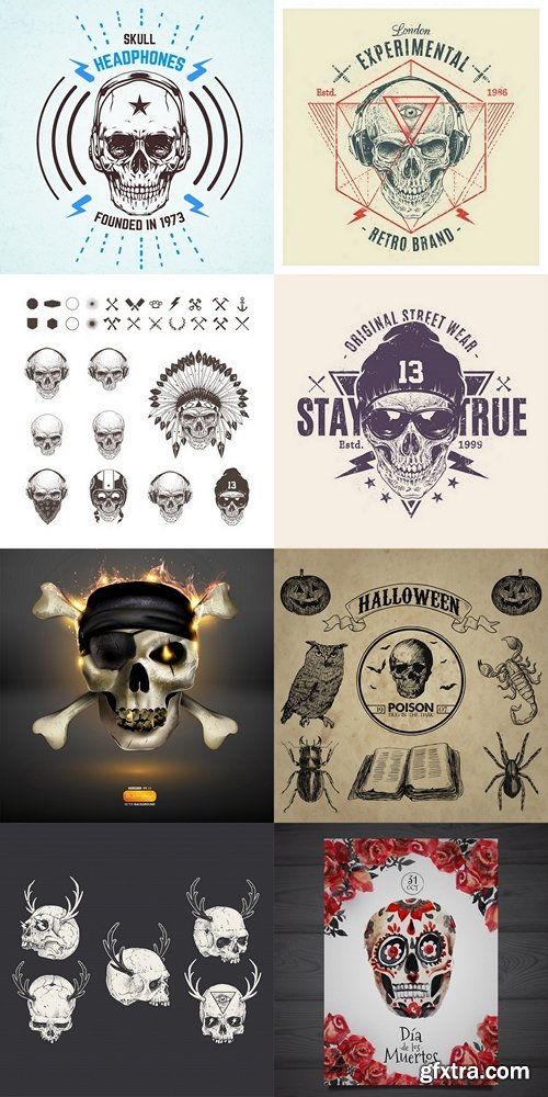Different skulls collection Premium Vector