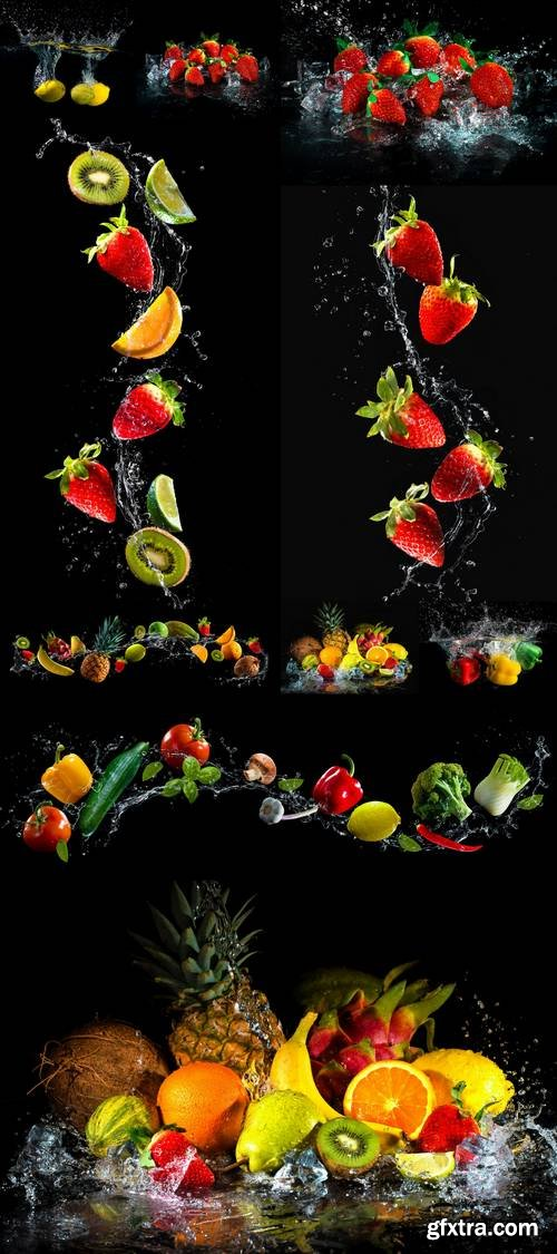 Fruits and Vegetables Splash in Water