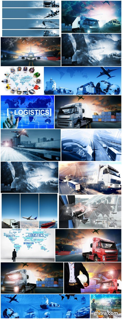 Abstract background Trucks and transport Highway and delivering 20X JPEG