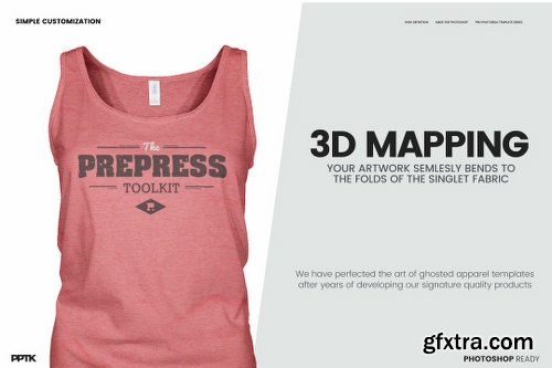 CreativeMarket Women's Ghosted Singlet Template 1279777