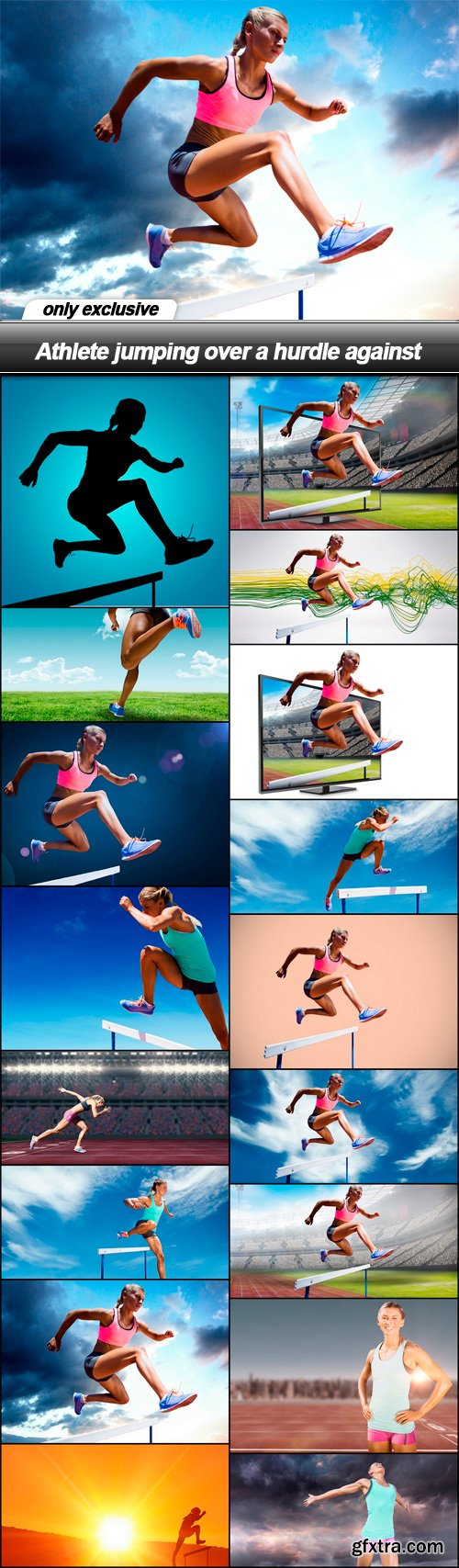 Athlete jumping over a hurdle against - 17 UHQ JPEG