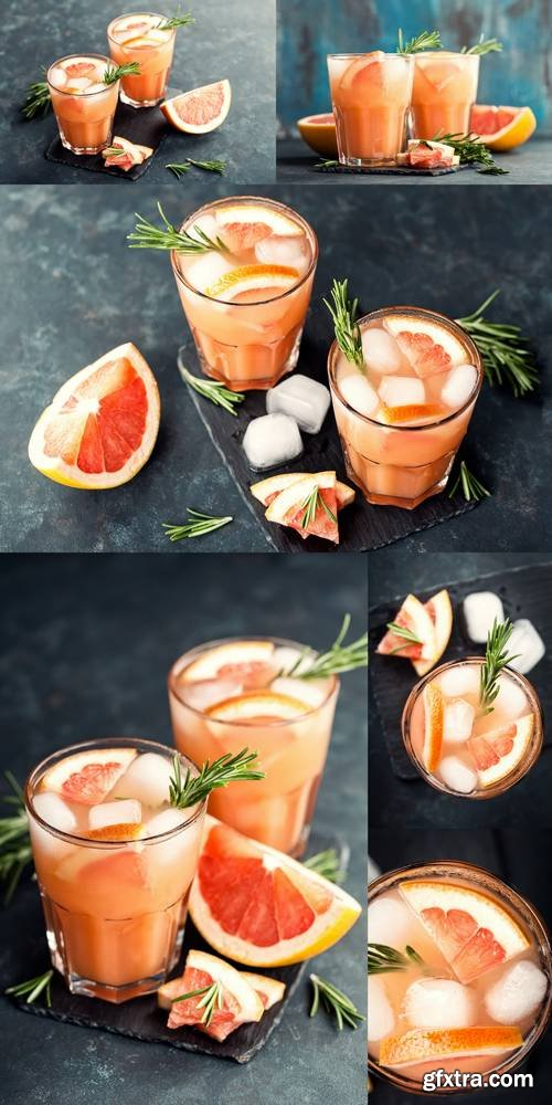Grapefruit and Rosemary Gin Cocktail or Margarita, Refreshing Drink with Ice
