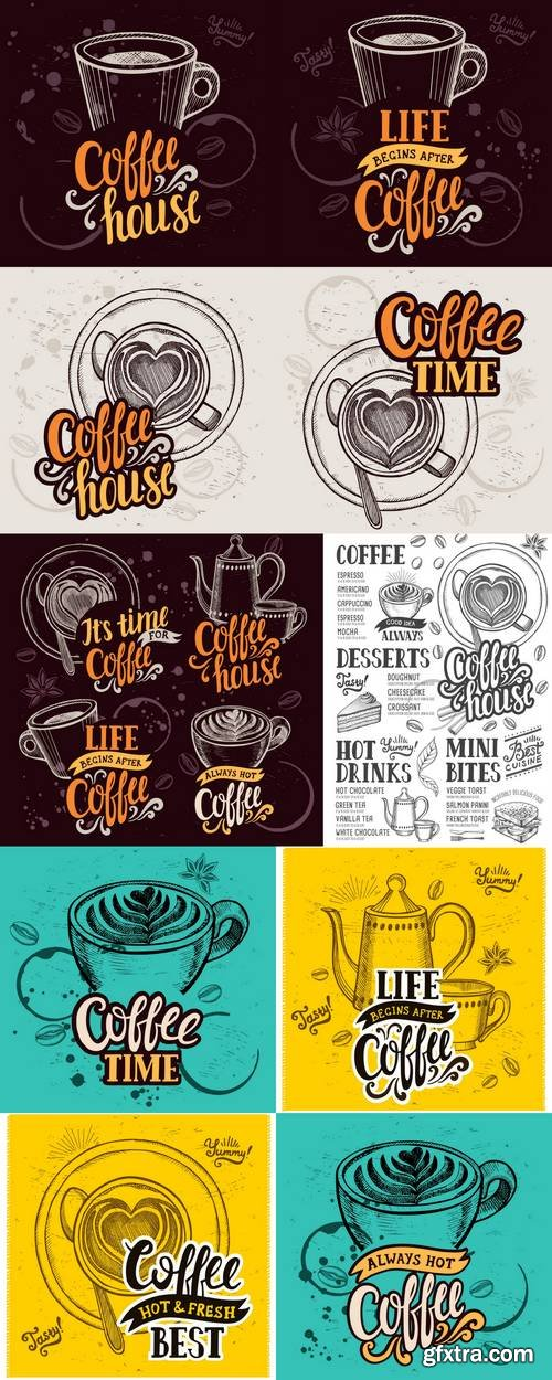 Coffee Menu Elements for Restaurant and Cafe