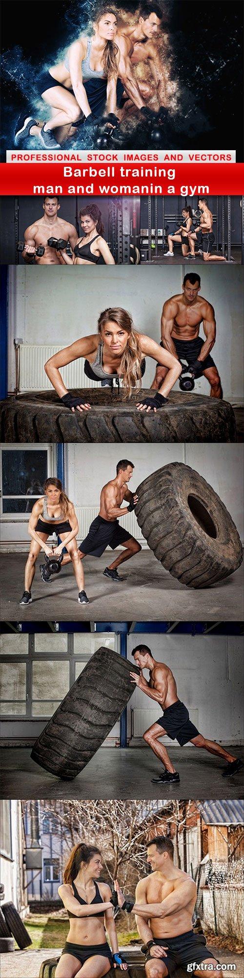 Barbell training man and womanin a gym - 7 UHQ JPEG