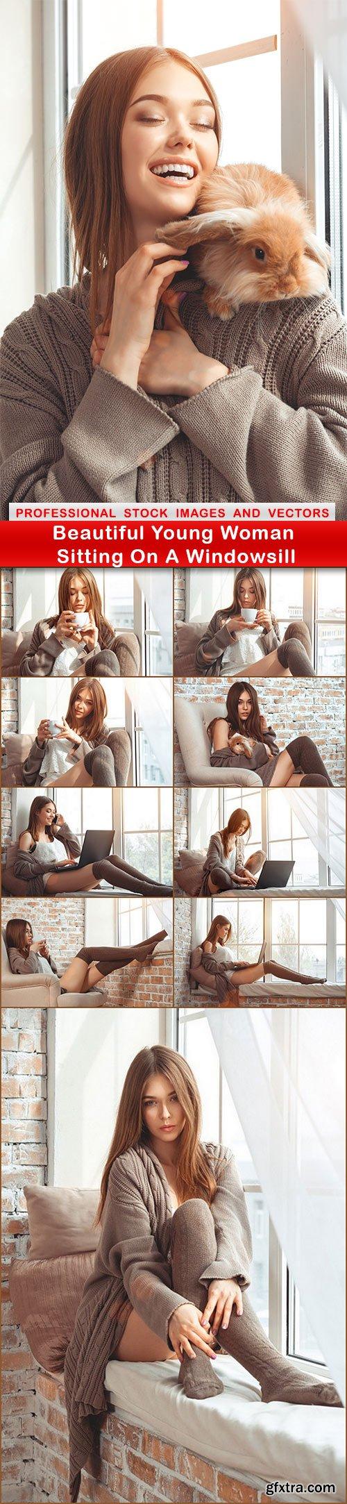 Beautiful Young Woman Sitting On A Windowsill - 10 UHQ JPEG