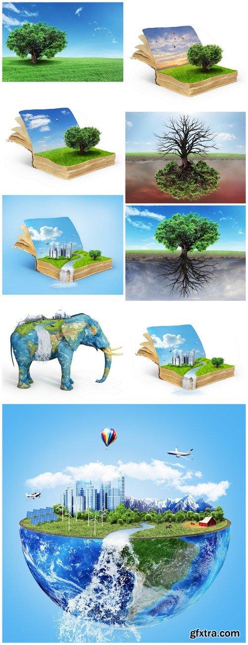 Eco concept Solar energy town, wind energy 9X JPEG