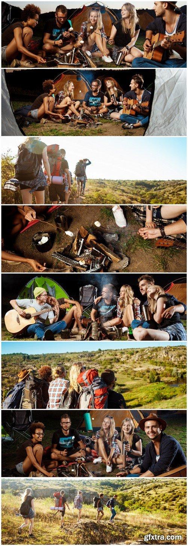 Camping Friends sitting near bonfire, smiling, playing guitar 8X EPS