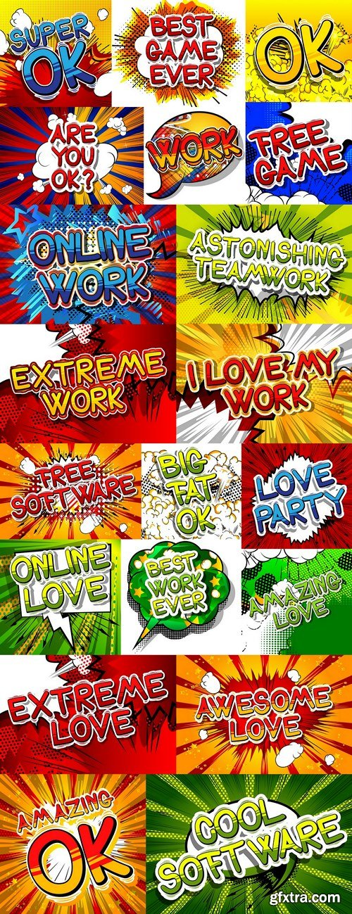 Comic book style phrase on abstract background