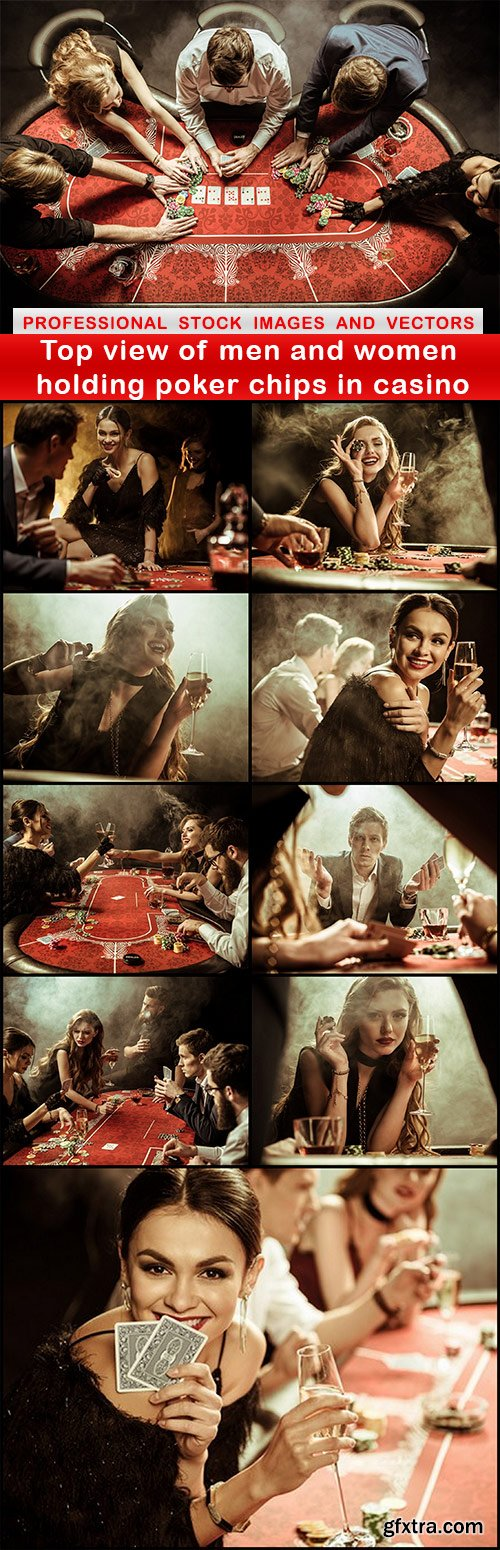 Top view of men and women holding poker chips in casino - 10 UHQ JPEG