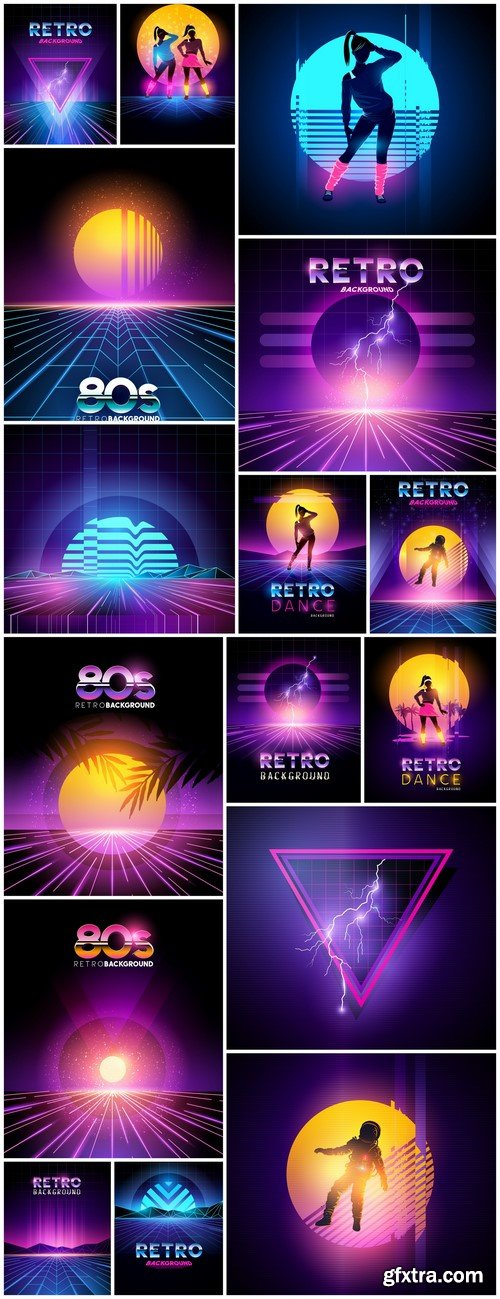 Retro background bright poster 16X EPS