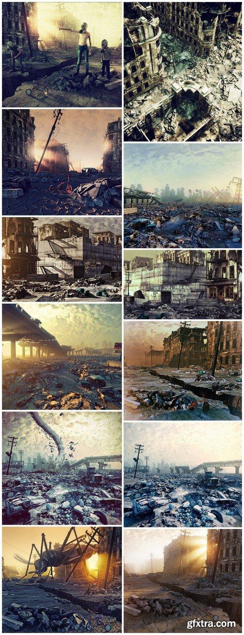 Ruins of a city Apocalyptic landscape 12X JPEG