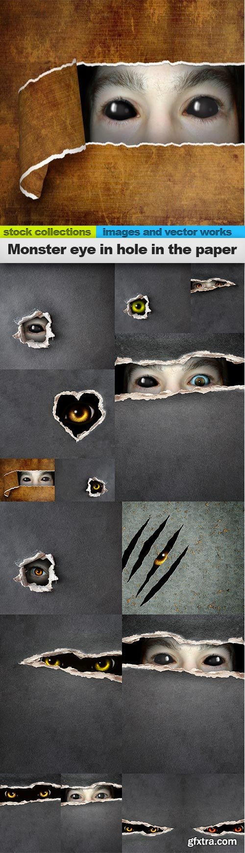 Monster eye in hole in the paper, 15 x UHQ JPEG