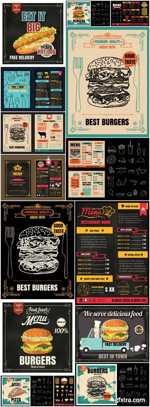 Restaurant Fast Foods menu on chalkboard 15X EPS