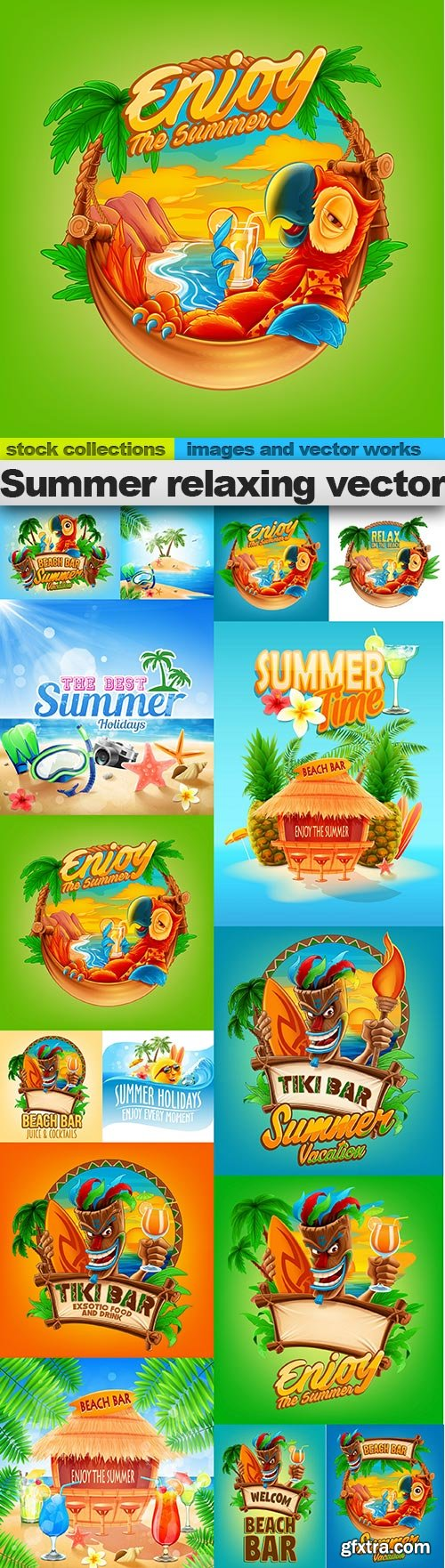 Summer relaxing vector, 15 X EPS