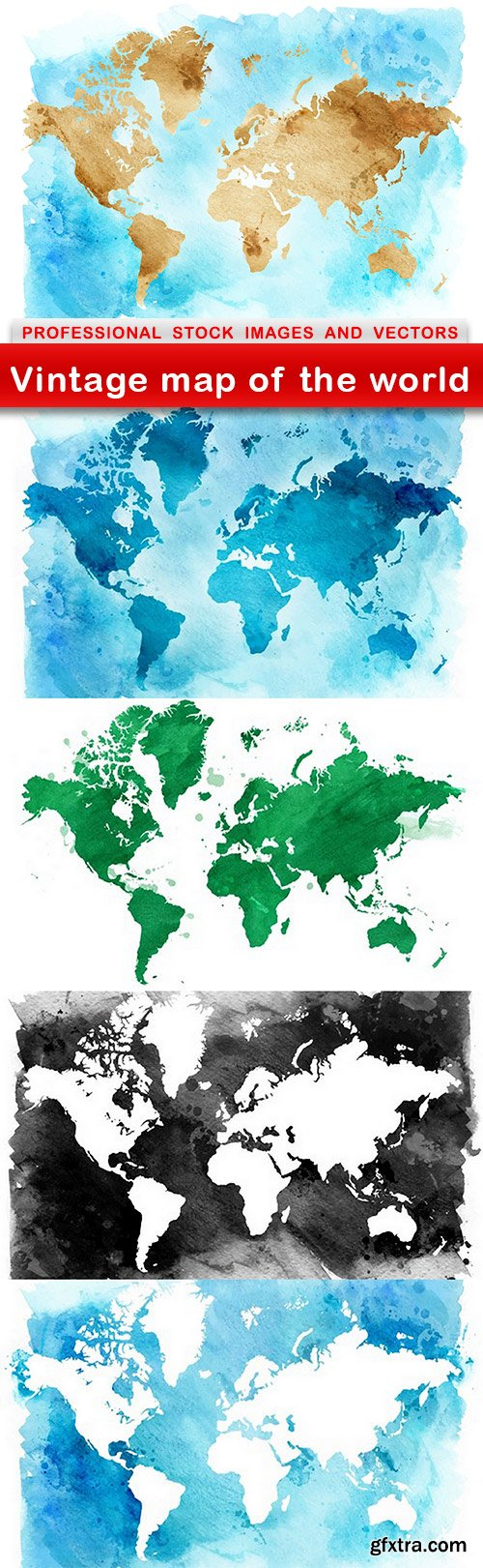 Vintage map of the world - 5 EPS