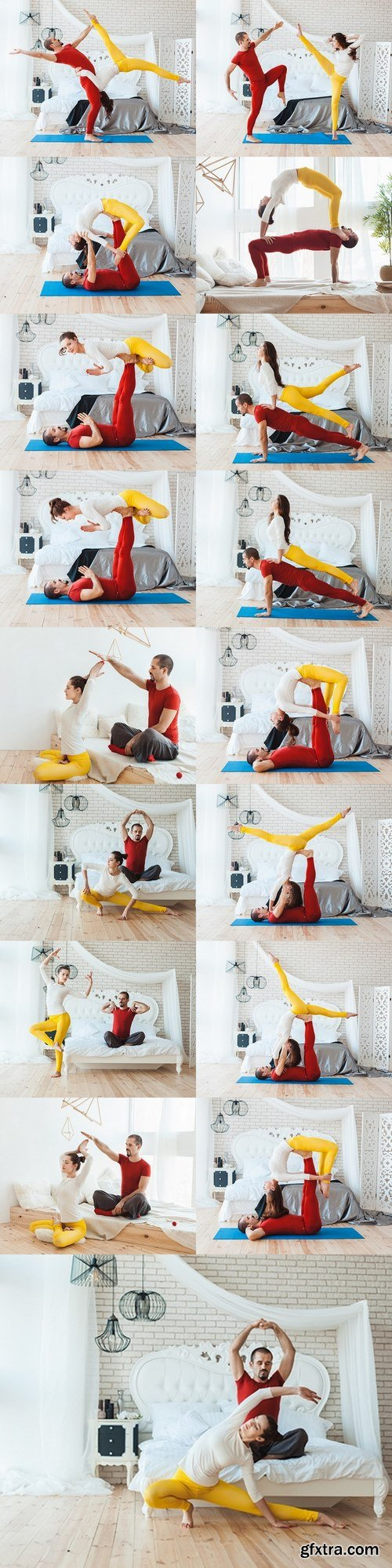 Man and woman practicing yoga, they trained at home