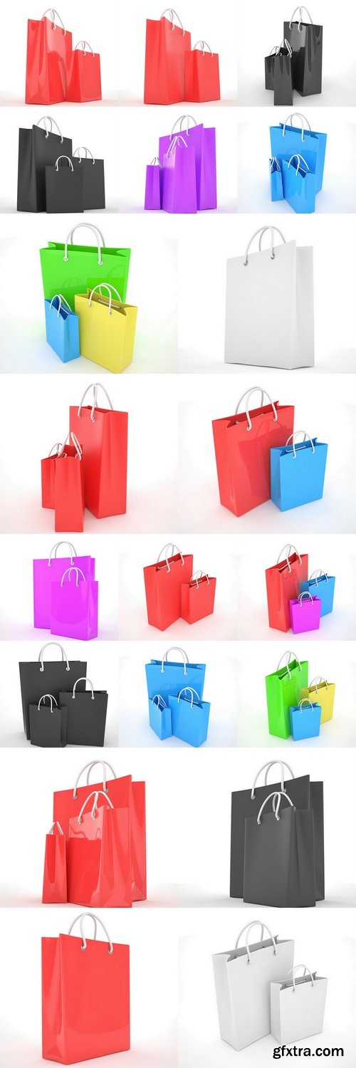 Paper Shopping Bags isolated on white background. 3d rendering