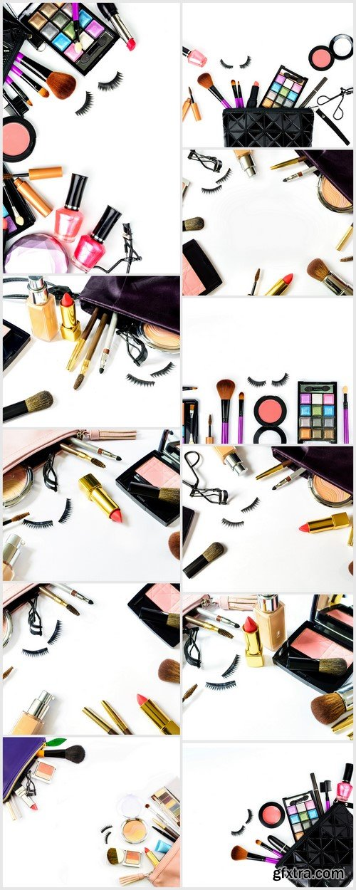 Makeup bag with cosmetics and brushes isolated on white 11X JPEG