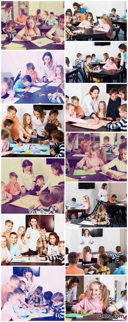 Teacher and elementary aged children 13X JPEG