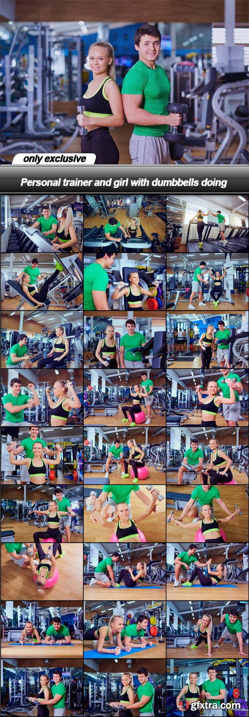 Personal trainer and girl with dumbbells doing - 28 UHQ JPEG