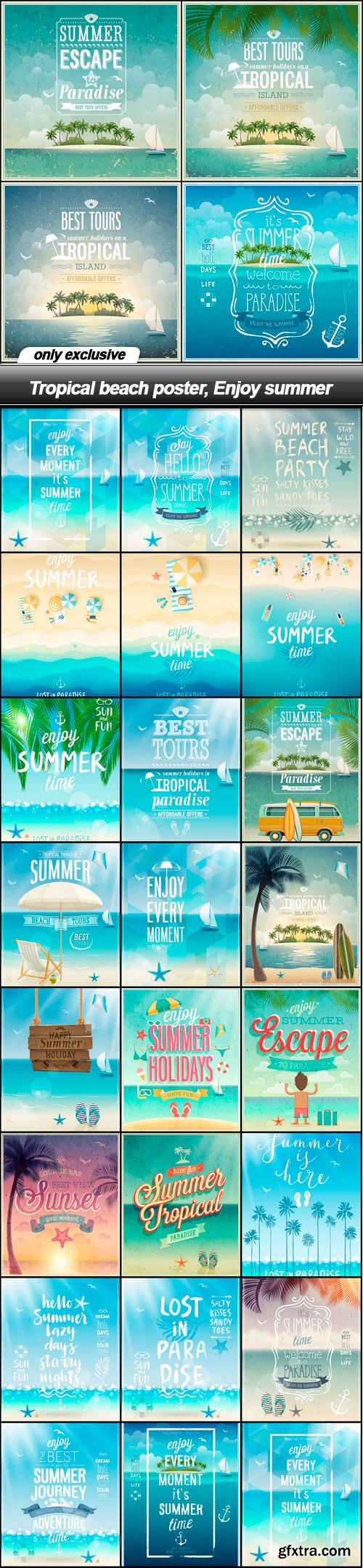 Tropical beach poster, Enjoy summer - 27 EPS