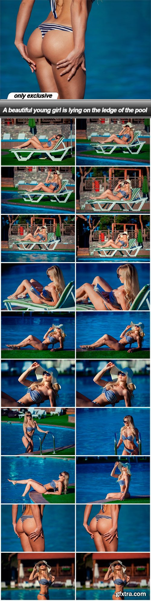 A beautiful young girl is lying on the ledge of the pool - 20 UHQ JPEG